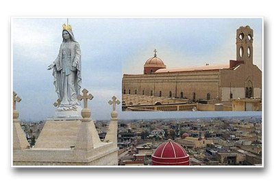 No Iraque, imagem de Maria é colocada sobre o campanário - Foto: asianews.it
