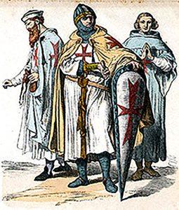 Caballeros templarios, grabado del libro «Zur Geschichte der Kostüme»